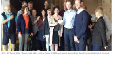 VEA AUVERGNE collecte 1900€ pour le NEURON'ACTION Un loto organisé pour un don caritatif.